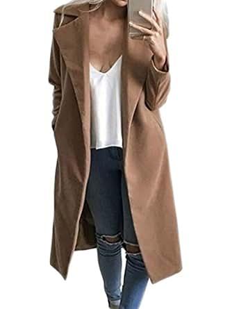 PERSUN Women's Winter Camel Lapel Woolen Blend Longline Manteau Trench Coat,X-Large