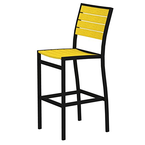 POLYWOOD A102FABLE Euro Bar Side Chair, Textured Black/Lemon For Sale