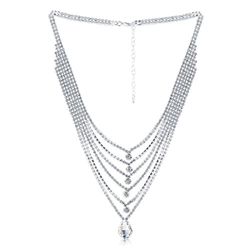 X&WILL Bridal Austrian Crystal Necklace Jewelry Set Gifts fit with Wedding Dress by X&WILL