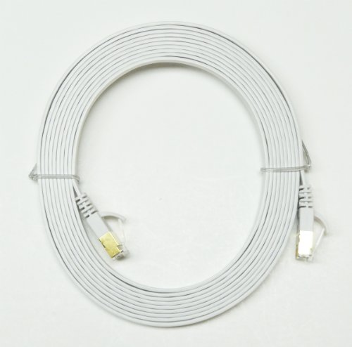 Tera Grand – CAT-7 Gigabit Ethernet UltraFlat Patch Cable, White 12 Feet, Best Gadgets