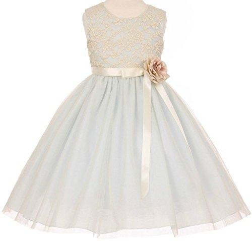 Flower Girl Elegant Stretch Lace Tulle Tea Length Dress