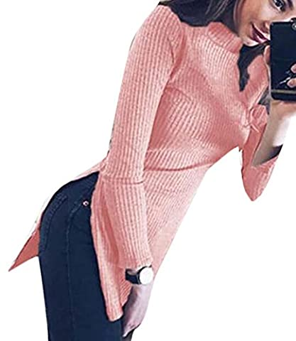 XQS Womens Autumn Turtleneck Slim Knitted Split Pullover Sweater Pink M - Split Turtleneck Sweater