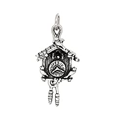 Sterling Silver Oxidized Three Dimensional Cuckoo Clock Charm