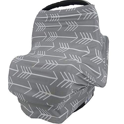 Nursing Breastfeeding Cover Scarf - Car Seat Canopy, Multi use Baby Car seat Cover for Girls and Boys,Grey Arrow