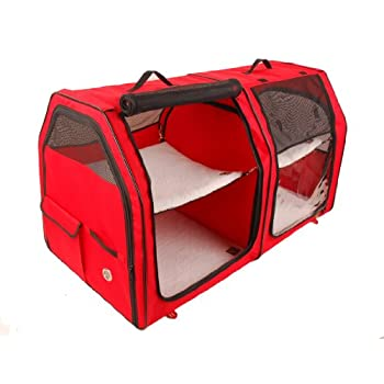 Image of Pet Supplies One for Pets Cat Show House Portable Dog Kennel (Shelter) Red/Cream/Tan