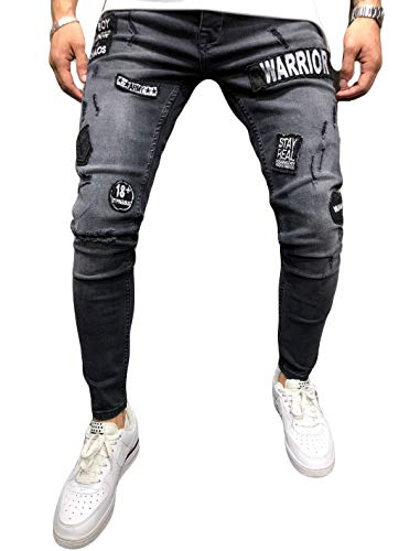 Men's Ripped Skinny Distressed Destroyed Straight Fit Side Striped Zipper Jeans with Holes (M=US S, Black(Printed))