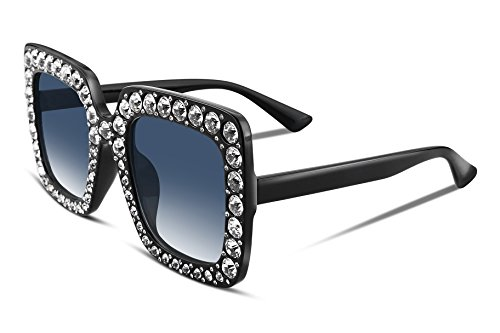 FEISEDY Women Sparkling Crystal Sunglasses Oversized Square Thick Frame - Women Oversize