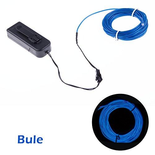 TopYart Neon LED Light Glow EL Wire Battery Pack String Strip Rope ...