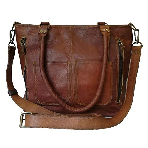 Madosh, Women's Shoulder Tote Genuine Leather Shopping Handbag Vintage Cross body Satchel Brown Purse