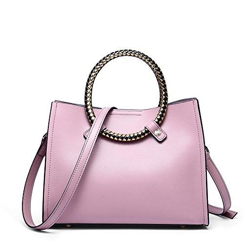 NAWO Women Leather Handbags Designer Tote Top-handle Purse Shoulder Bags Small Cross-body Bag Pink - Circle Handle