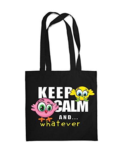 Einkaufstasche Eco Funny Birds Keep Calm and 2Tote Beach Schulter Handtasche schwarz