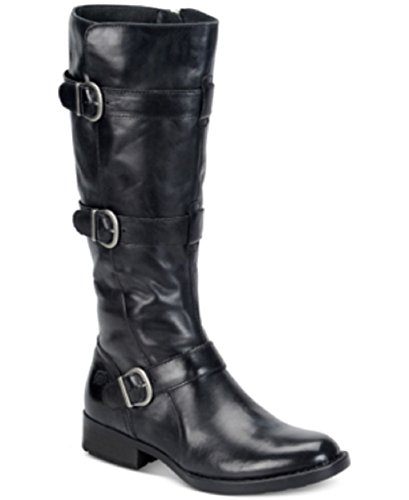 Born Womens Falmouth Leather Round Toe Knee High Fashion Boots, Black, Size ()