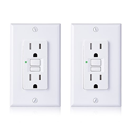 Outlet Single 15 Amp Circuit - Cable Matters (2-Pack) 15 amp GFCI Outlet with Tamper Resistant Receptacle and Wall Plate in White