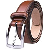 Mens Belts Leather Large, 32MM Casual Belt with Pin Buckle (36, Brown)