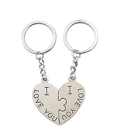 Haga clic abajo de I Love You diseño de pareja llavero amor ...