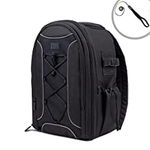 Deluxe SLR Camera Backpack Case with Tripod Foot Holder , Nylon Exterior & Waterproof Rain Cover by USA Gear - Works with Nikon D3200 , D5200 , Coolpix L340 and More Cameras *Bonus Lens Cap Keeper*