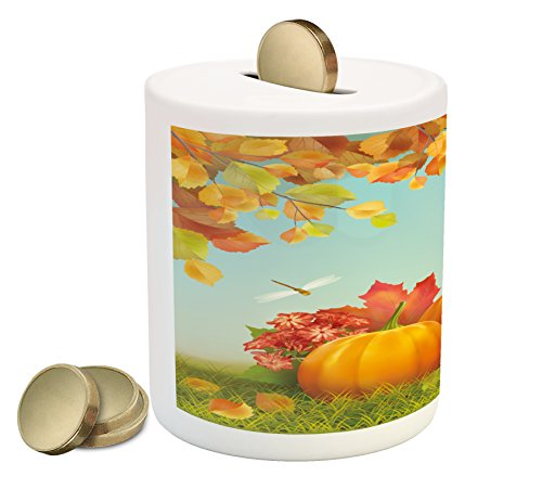 Lunarable Pumpkin Piggy Bank  Flora Fauna In Unity Fruits Of The Fall Season Dragonflies Harmonious Nature  Printed Ceramic Coin Bank Money Box For Cash Saving  Orange Red Green