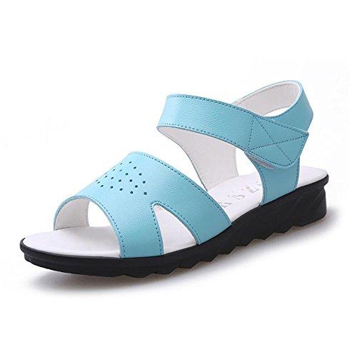Sandalias planas suave hembra en el extremo con las mujeres embarazadas madre calzado antideslizante Blue C08
