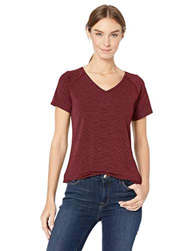 Amazon Essentials Women's Studio Short-Sleeve Lightweight Patterned V-Neck T-Shirt, -wild ginger stripe, Large