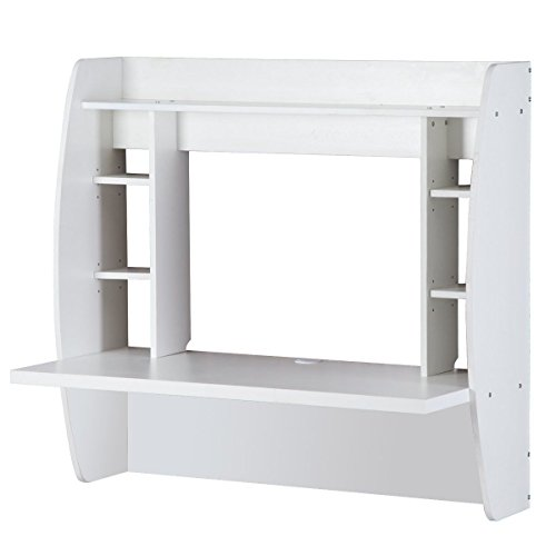 Prountet Home Office Computer Desk Table Floating Wall Mount Desk W/Storage Shelves White by Prountet (Image #4)