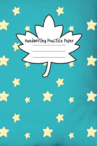 Handwriting Practice Paper: Journal Composition Notebook with Blank Lined Writing Letters & Words Sheet for Preschool or Kindergarten K-3 Grade ... Gold Star and Maple Leaf Green Theme Cover ()