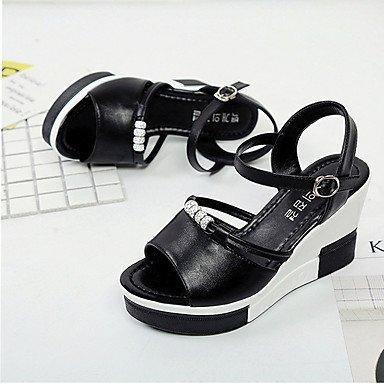 LvYuan Tacón Plano Tacón Cuña-Confort-Sandalias-Vestido Informal-PU-Negro Blanco Black