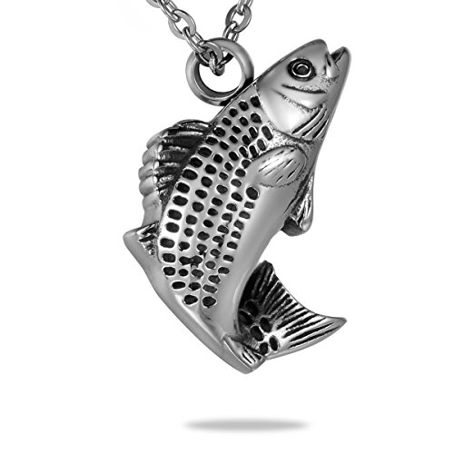 Hooami fresh water fish stainless steel cremation jewelry for Fish urn necklace