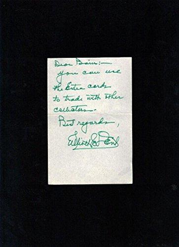 eddie dent dodgers signed handwritten note mlb cut signatures at