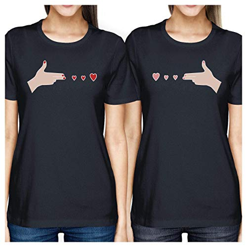 corta With unica Stampa Gun Navy Hands 365 Hearts T shirt taglia donna manica gHpIqxC