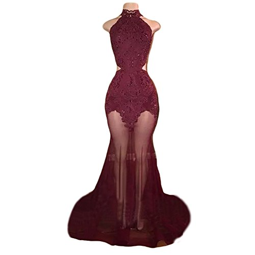 Ulbridal Women's Burgundy Lace Prom Dresses Long 2018 Mermaid Vestidos de Fiesta
