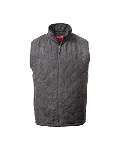 - Coleman Faux Suede Quilted Snap-Front Vest (Large, Grey)