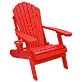 Outer Banks Deluxe Oversized Poly Lumber Folding Adirondack Chair (Bright Red)