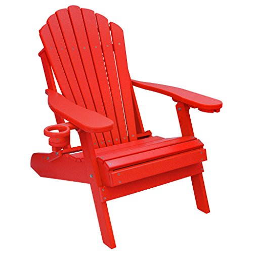 ECCB Outdoor Outer Banks Deluxe Oversized Poly Lumber Folding Adirondack Chair (Bright Red)