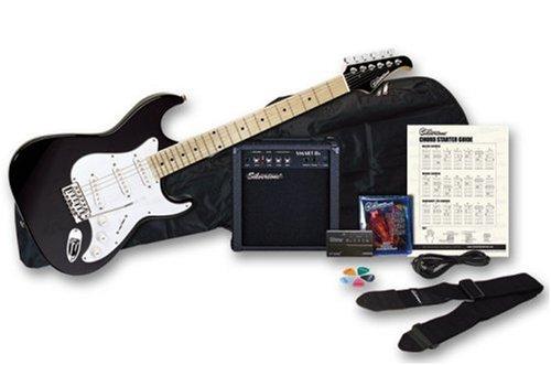 Silvertone Citation Electric Guitar and Amp Package, Liquid Black -  SS10 PAK BK