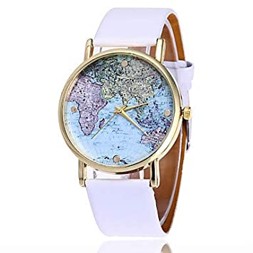 Sports watches Relojes de Hombre Mujer Reloj de Pulsera Cuarzo Cool PU Banda Analógico Moda Mapa