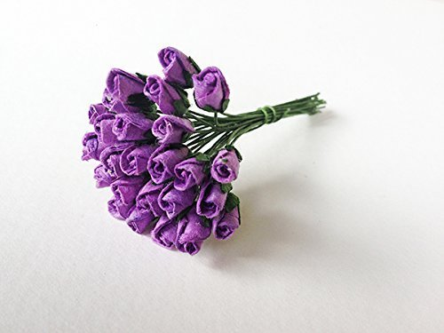 4mm Purple Paper Rose Buds - 25 Tiny Mulberry Paper Flowers with Wire Stems - Great As Wedding Favour Box Decoration