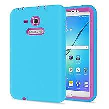 Galaxy Tab 3 Lite 7.0 Case, TKOOFN Shockproof Heavy Duty Rugged Hybrid Silicone Case Cover for Samsung Galaxy Tab 3 7-Inch SM-T210 / SM-T211(Light Blue+Rose Red)