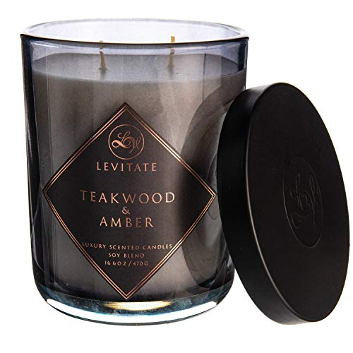 Levitate Teakwood & Amber Soy Blend Luxury Scented Candle - 10 oz.