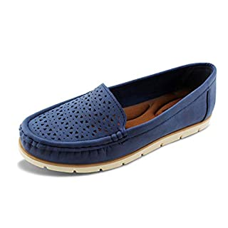 JABASIC Womens Penny Loafers Breathable Slip on Flat Shoes Moccasins (6,Navy)