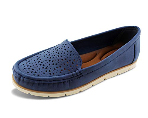 Jabasic Womens Penny Loafers Breathable Slip on Flat Shoes Moccasins (9,Navy)