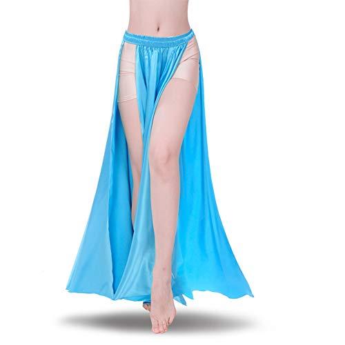 ROYAL SMEELA Belly Dance Skirt Tribal Two Side Slit Skirt Belly Dance Costume for Women Maxi Skirt Satin Dancing Skirts Light Blue]()
