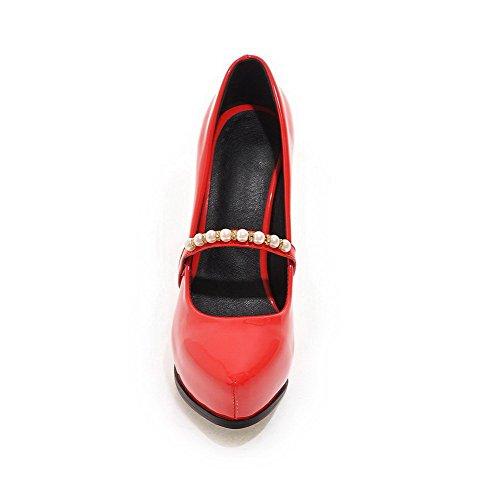 Alto Pompe Chiuso Su Solide Estraibili talloni scarpe Donne Punta Aguzza Rosse Weipoot gSxnwqztz6