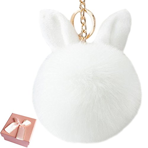 Ball Shaped Keychain - Elesa Miracle Girl Women Fur Ball Rabbit Ear-Shaped Keychain, Girl Women nHandbag Accessories, Car Key Chain Rings (White)