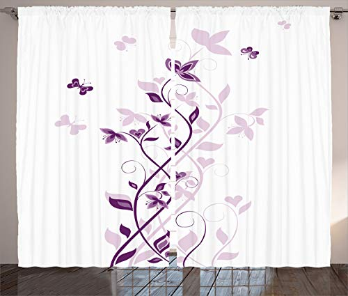 "Ambesonne Purple Curtains, Violet Tree Swirling Persian Lilac Blooms with Butterfly Ornamental Plant Graphic, Living Room Bedroom Window Drapes 2 Panel Set, 108"" X 90"", Purple White"