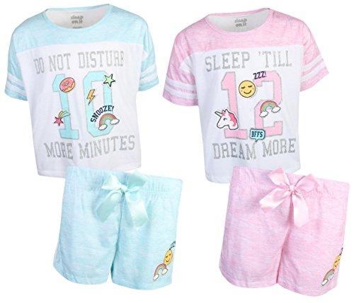 Sleep On It Girls 4-Piece T-Shirt and Short Spring Pajama (2 Full Sets) Varsity Team, Size 7/8' by Sleep On It