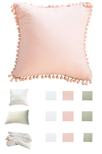 Pom poms Fringe Cotton Throw Pillow Cases Meaning4 Pink European Square 26 x 26 Pink Fringe Pillow
