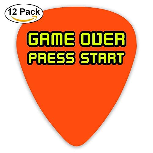Anticso Custom Guitar Picks, Jewelry Gift For Guitarist Acoustic Guitar -Game Over Press Start Gamerstyle,12 Pack
