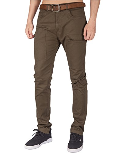 ITALY MORN Men's Flat Front Chino Pants Multi Pockets