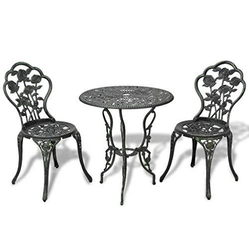Heize Best Price Green Cast Aluminum Rose Design Bistro Set Antique New Patio Furniture Slats Chair Seat Yard(U.S. Stock)