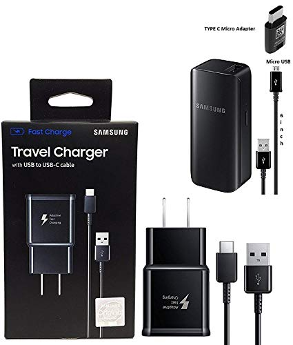 Offical OEM Samsung Adaptive Fast Charging Black Charger - for Samsung Galaxy S8/S9/+/Note8/Note9 & W/2100mAh Quick Battery Charger (US Combo Retail Pack)